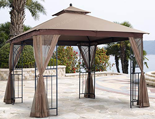 APEX GARDEN Harmony 10 ft. x 10 ft. Gazebo with Mosquito Net and Corner Shelves
