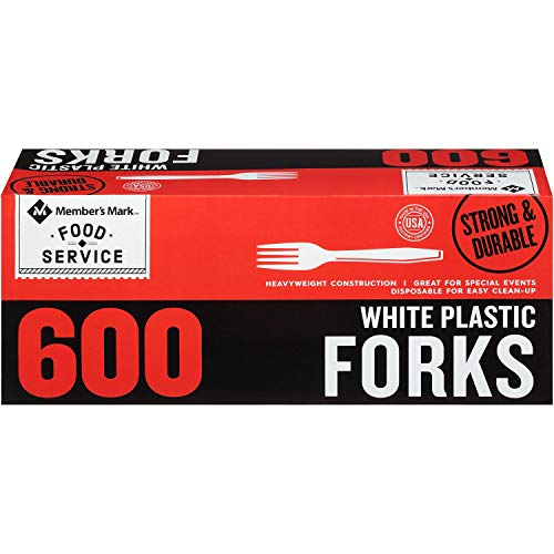 Price comparison product image Member's Mark White Plastic Forks (600 ct.) (pack of 2)