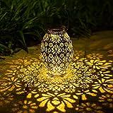 Ninecy, lanterna solare per esterni, lampada solare a LED, in metallo, decorazione da giardino, impermeabile, da appendere, per terrazzo, portico, giardino, cortile
