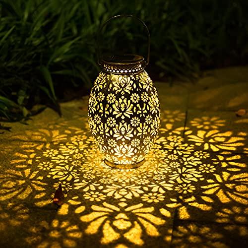 Solarlaterne für Außen, NINECY Solarlampe LED Metall Laterne, Dekorative Garten Solarleuchte Wasserdicht Hängbare Gartenlaterne, für Terrasse,Veranda, Rasen, Garten, Hof