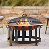 """John Timberland Zurich Copper and Black Outdoor Fire Pit Round 30"""" Steel Wood Burning with Spark Screen and Fire Poker for Backyard Patio Camping Deck"""