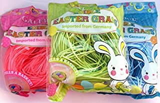 Happy Easter Basket Kids Toddlers Children Edible Candy Easter Grass - 1 bag (1oz) Pink - STRAWBERRY Flavored
