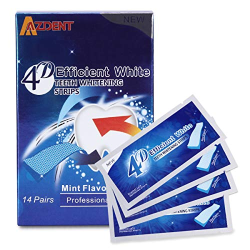 Teeth Whitening Strips, Azdent White Strips Teeth Whitening Sensitive Teeth - Best Teeth Whitener - Natural Whitening Strips - 28 Strips - 14 Uses