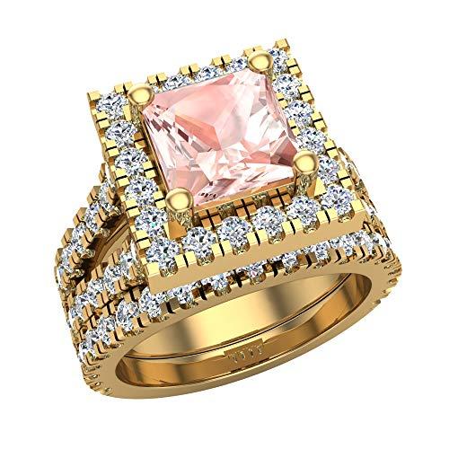 Glitz Design Mujer Niños Hombre Unisex oro 14 quilates (585) oro amarillo 14 quilates (585) asscher Pink Morganite