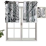 Hiiiman Cortinas cortas, con bloqueo de luz, diseño urbano, 1 unidad, 106,7 x 45,7 cm, para sala de estar
