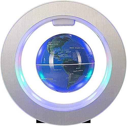 ZSMLB World globe decoration 4' Floting Globe with LED Light,Blue Floating Magnetic for Learning Home Office Desk Decoration