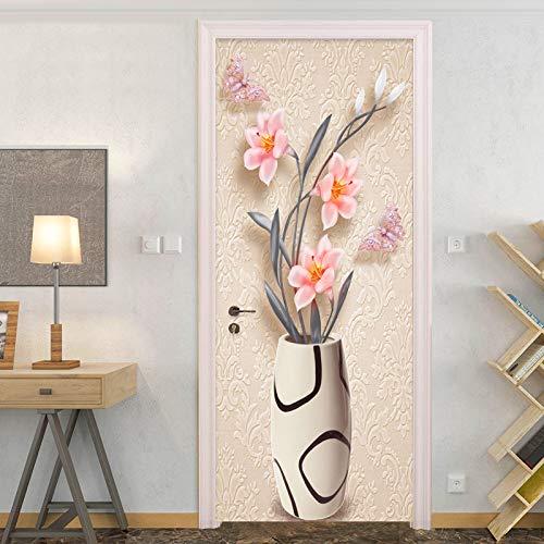 3D-sticker voor de deur, waterdicht, zelfklevend, mooie bloempotten, om te knutselen, zelfklevend, afneembaar, waterbestendig, decoratie voor thuis 95x215cm