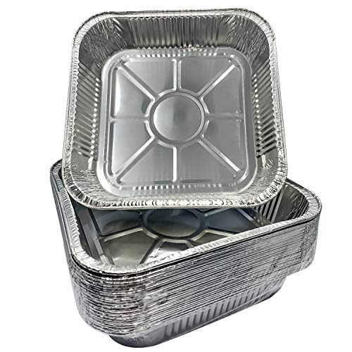 Aluminum Pans 8' Square Disposable Foil Pans (20 Pack) - Great for Baking, Cooking, Heating, Storing, Prepping Food