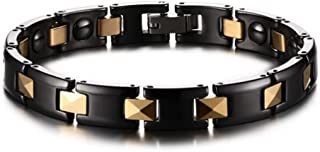 Magnet Bracelet Titanium Steel Gold Plated Men and Women Bracelet Effective and Natural Pain Relief Health Care Bracelet Jewelry Gift Bracelet Link Removal Tool,B