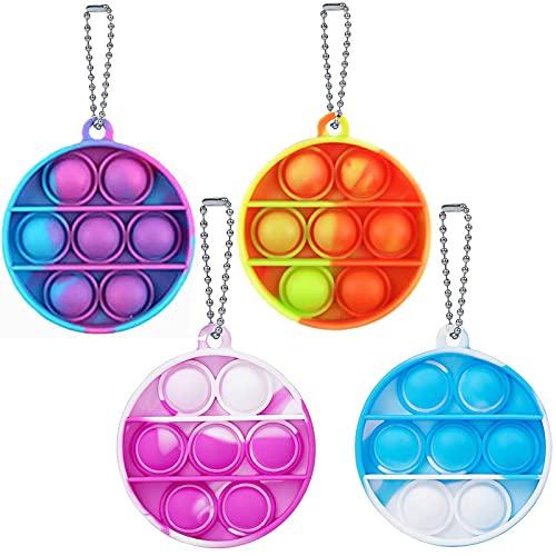 AZAZJ 4 Pcs Mini Push Pop Bubble Fidget Toys Keychain Tie Dye Silicone Sensory Toys Stress Relieves Anxious Tools for Kids Adult Round