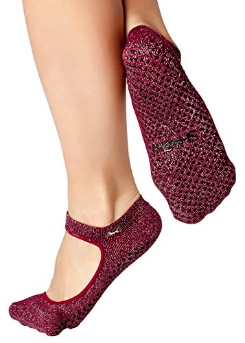 Shashi Red/Silver Open Top Non Slip Ergonomic Socks Pilates Barre Ballet Yoga Dance Metallic Burgundy Medium / 8-10