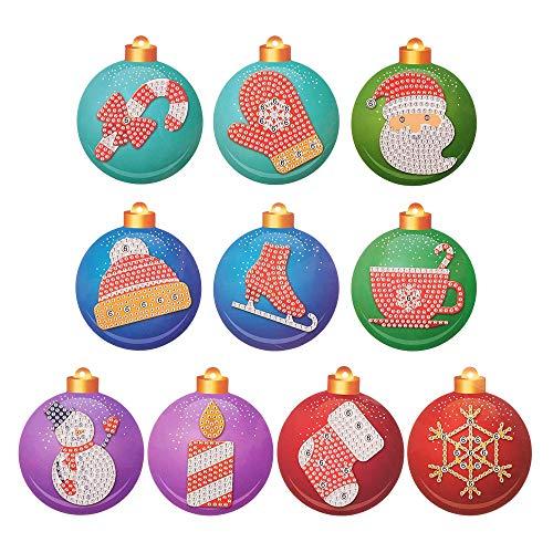 10Pcs Christmas Tree Shining Rhinestones Baubles Embroidery Ornament...