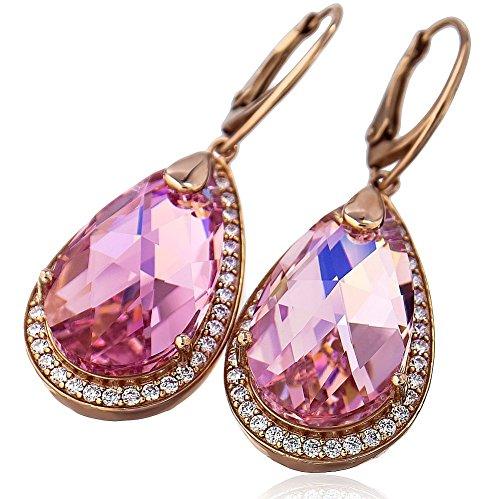 Swarovski-Kristalle Schöner Ohrringe encante Rose Vergoldet Silber Zertifikat