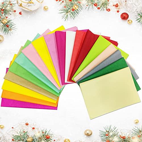 AFASOES 72 Blätter Seidenpapier Basteln Transparentpapier Bunt Verpackungsmaterial Bastelpapier Blumen Papier Geschenkpapier für Weihnachten Papierblumen Pompoms Tischdeko 14g/m² (18 Farben 50*70CM)