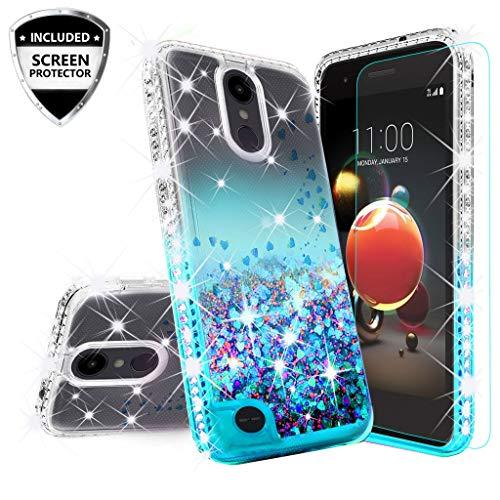 LG Rebel 4 LTE/Aristo 3/Zone 4/Phoenix 4/Tribute Empire/Risio 3 Case Liquid Glitter [Tempered Glass Screen Protector] Quicksand Girls Women Cover Compatible Cases for LG Aristo 3 - Aqua/Clear