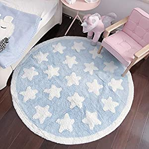 Plush Cotton Nursery Rugs for Boys and Girls – Super Soft Playtime Collection, Baby Crawling Play Mat Kids Teepee Tent Game Carpet, White Star Blue Fluffy Rugs (Round, 43″)