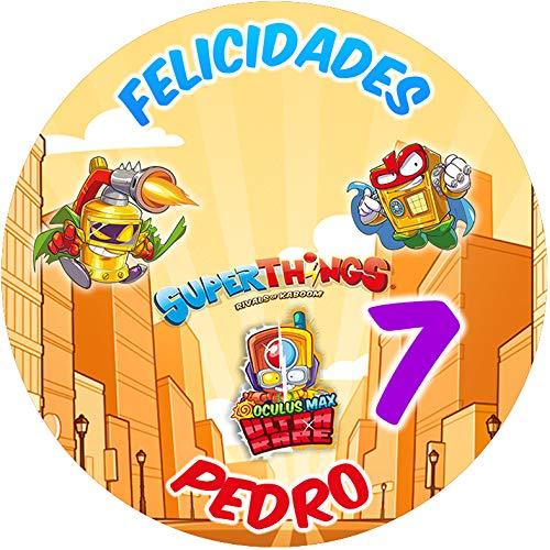 OBLEA de SUPERTHINGS Personalizada con Nombre y Edad para Pastel o Tarta, Especial para cumpleaños, Medida Redonda de 20cm de diámetro
