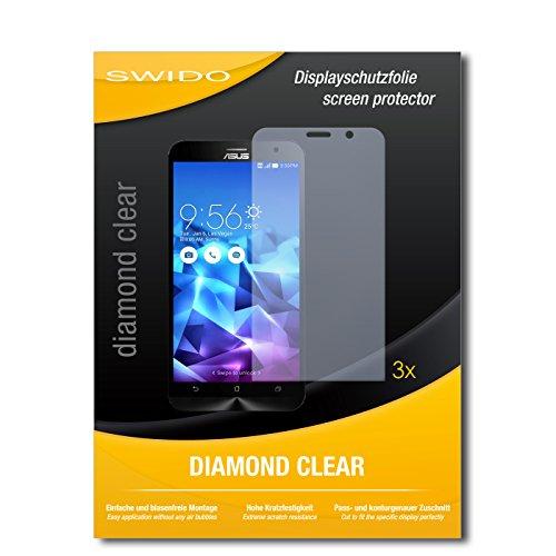 SWIDO 3 x Schutzfolie Asus ZenFone 2 Deluxe Bildschirmschutz Folie DiamondClear unsichtbar
