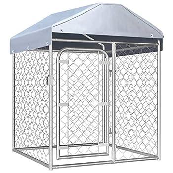 vidaXL Chenil Extérieur avec Toit Chiens 1x1x1,25m Cage Enclos Niche Jardin