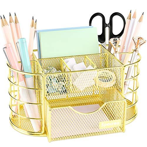 Spacrea Organizador de escritorio y accesorios, Suministros de Oficina Organizador de escritorio, soporte para lápices para escritorio