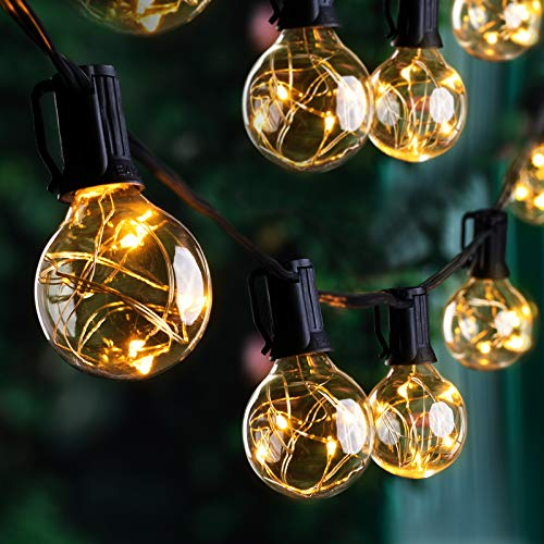Quntis Waterproof Outdoor LED String Lights 17.7M 50+3 G40 Bulbs 265 LEDs IP65 Waterproof Patio String Lights CE Standard Warm Indoor Outdoor Fairy Lights for Backyard Bistro Cafe Pergola Tree Party