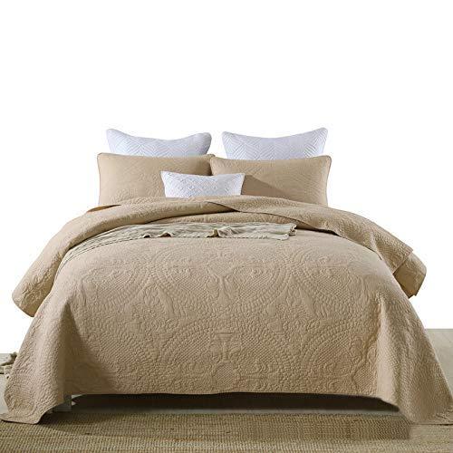 Colcha de edredón tamaño queen, ropa de cama de 3 piezas, 100% algodón, acolchado, bordado, funda de cama con 2 fundas de almohada, sábanas / colchas dobles multifunción, dorado-230x250cm + 50x70cmx2