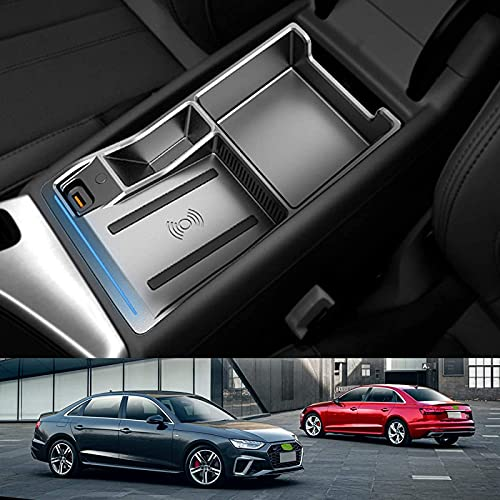 Cargador de Coche Inalámbrico para Audi A4 A5 S4 S5 2017-2021, Cargador de Teléfono de Carga Rápida de 15W con QC3.0 USB para iPhone 12 Pro MAX Mini 11 / XS MAX/XR / 8, Galaxy S20 / S10