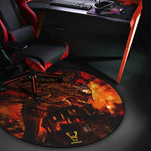 Woxter Stinger Floorpad Red - Alfombrilla Gaming de Suelo, Tapete Protector para Suelo - Resistente al Agua, Lavable, 100% Microfibra, Diámetro 120 cm, Color Rojo