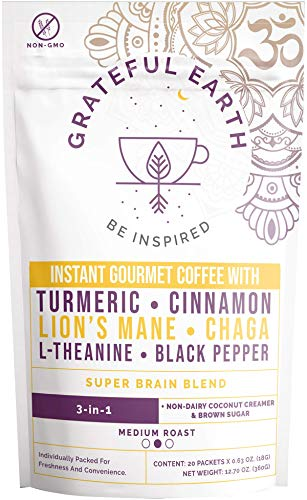 Grateful Earth: Super Brain Blend Instant Coffee - Medium Roast, Gourmet Arabica & Robusta, Non-Dairy 3-in-1 Coffee Packets (20) - Nootropics, Superfoods, Turmeric & Mushroom, Energy & Immune Support