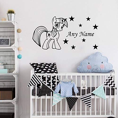 Blrpbc Adhesivos Pared Pegatinas de Pared Precioso Pony Personalizado Cualquier Nombre Vinilo bebé guardería habitación Pegatina Decorativa DIY Arte calcomanía Mural 60x30cm