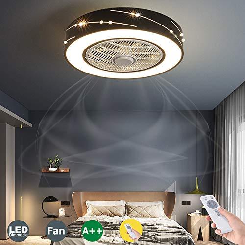 LED Fan Deckenventilator Moderne LED Fan Deckenleuchte Mit Fernbedienung Leise Unsichtbares Fan Licht Schlafzimmer Lampe Wohnzimmer Kindergarten Kinderzimmer Ventilator Deckenlampe Beleuchtung,Schwarz