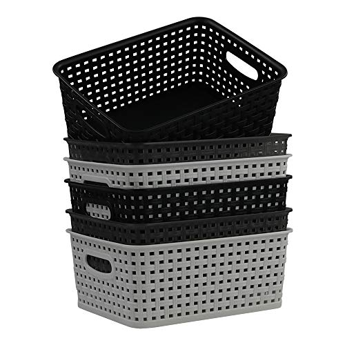 Ponpong Kleine Aufbewahrungskörbe aus Kunststoff für Küchenschränke, Schwarz Weiß und Transparent Grau, 6 Packungen