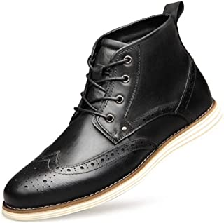 JIANFEI LIANG Men's Chelsea Boot Ankle Boot Lace up Genuine Leather Experienced Stitched Brogue Wingtip Waxy Shoelaces Villus Lined Round Toe Dress Oxford Boots (Color : Coffee, Size : 50 EU)