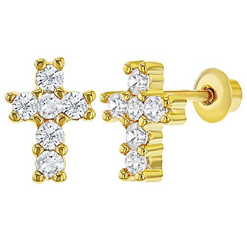 Pendientes de cruz de 18 K chapados en oro claro con rosca en la parte
