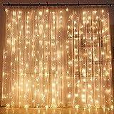 ZWOOS Luces de Cadena, 300 LEDs Cortina de Luces con Gancho, Control Remoto, 8 Modos, 3mx3m (Blanco Cálido)