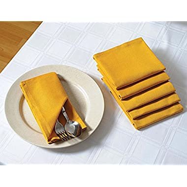ShalinIndia Cloth Dinner Napkins - 20  x 20  - Cotton - Yellow - Set of 6 - Perfect for Weddings & Dinner Parties