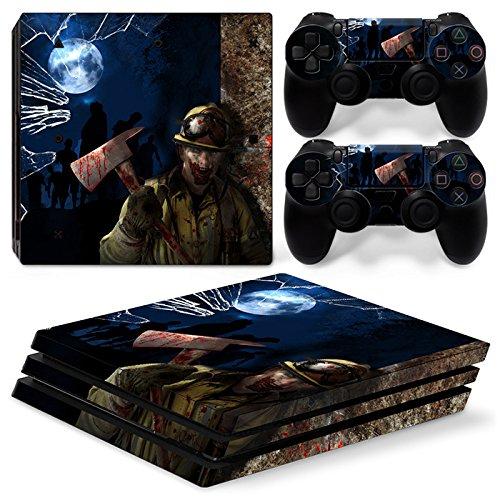46 North Design Ps4 Pro Playstation 4 Pro Pegatinas De La Consola Zombie Horror + 2 Pegatinas Del Controlador