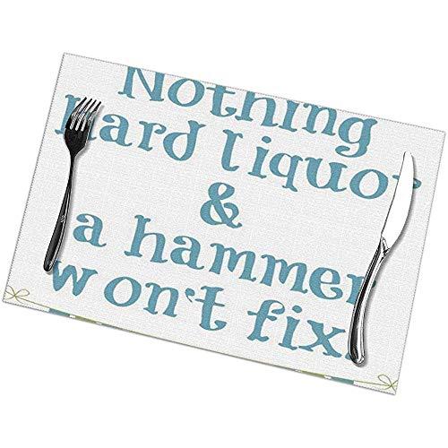NotApplicable Table Mats Nichts Schnaps Und Hammer Won Fix Gel Valentinstag Tischsets Ostern Waschbar Tischsets Set Von 6 Urlaub Esstisch Weihnachten 30X45Cm