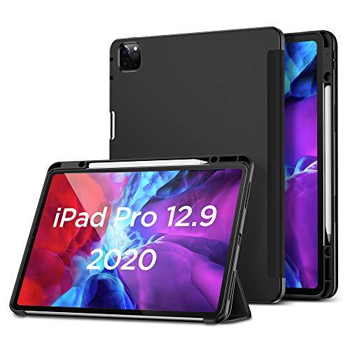 """ESR Hülle kompatibel mit iPad Pro 12.9"""" 2020 mit Pencilhalter, Rebo& Pencil iPad Hülle mit weicher Flexibler TPU Rückseite, Auto Schlaf-/Weckfunktion & vielseitigen Ansichtsstandmodi - Schwarz"""