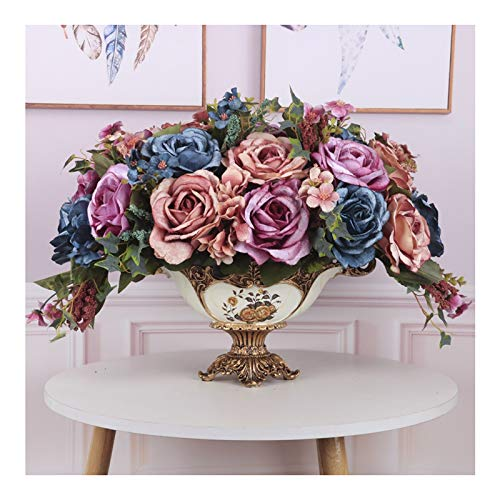LZL Artificial Flowers in Vase - Real Touch Rose Flowers Bonsai, Faux Silk Flannel Rose Bouquets in Vase, Fake Flowers Centerpiece for Home/Office/Wedding Party (Size : Set3)