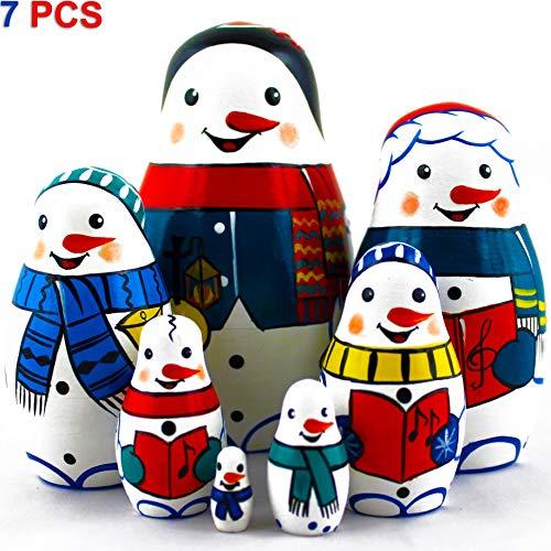 Matryoshka Dolls Family of Snowmen Set 7 pcs Snowman Wooden Toys