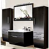 Mueble de baño Juego Completo en Brillante Antracita, 90cm Lavabo, LED Espejo con Estante, 2midisch ränke, B X H X T: 210x 200x 52,5cm