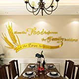 DecorSmart 3D Removable Wall Stickers for Dining Room Decoration for The Wall with Acrylic Golden Ears of Wheat and Prayer Quote