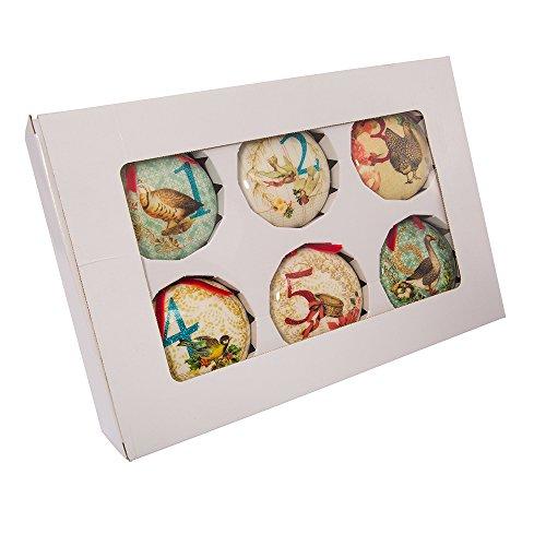 Kurt Adler 85mm Decoupage Ball Ornament Set of 12, 12 Piece