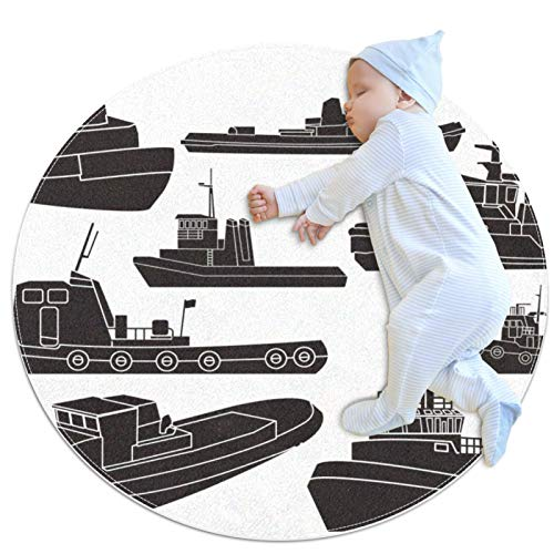 HDFGD Clipart Tapis pour chambre de fille lavable et lavable Motif bateau à tirer Noir et blanc