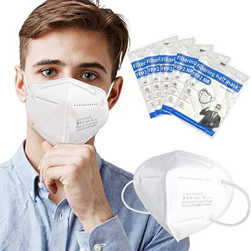 AHOTOP FFP2 Maske CE Zertifiziert | FFP2 Masken Weiß | Masken Mundschutz | Einwegmasken | 10 Stück Maske Für Women Men Mund und Nasenschutz