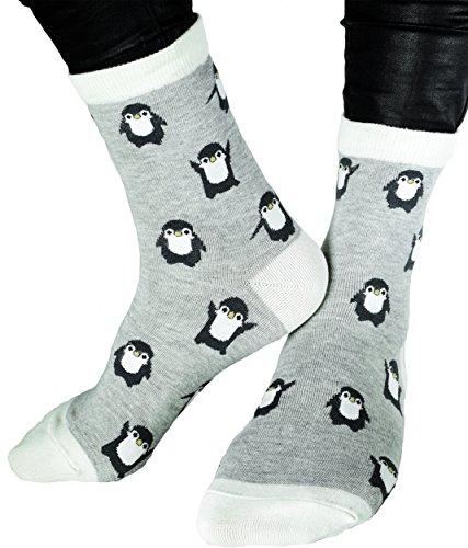 1 Paar Atmungsaktive Damen Socken in Größe 33-40 Motivsocken Pinguin Grau Strümpfe Tennissocken Freizeitsocken cotton FARB AUSWAHL (Pinguin Grau)