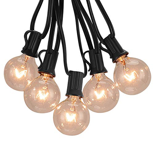 G40 Globe String Lights with Clear Bulbs, Decorative Lights 50 Ft/Black Free New Bulb Replacement Explore String Lights For Fences Patio Porch Backyard Deck Bistro Gazebos Pergolas Balcony Wedding
