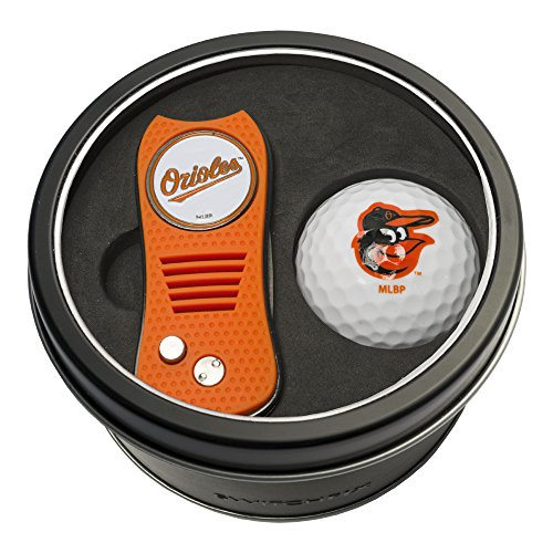 Team Golf MLB Baltimore Orioles Gift Set Switchblade Divot Tool with Double-Sided Magnetic Ball Marker & Golf Ball, Patented Single Prong Design, Less Damage to Greens, Switchblade Mechanism
