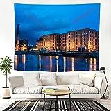 JOOCAR Tapiz Royal Albert Dock, Liverpool, Inglaterra para colgar en la pared, tela de poliéster para el hogar, decoración de pared para dormitorio
